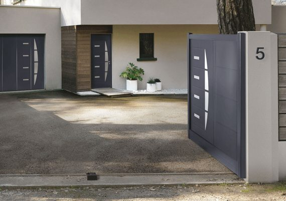 coordonnez l 39 esth tique de votre porte d 39 entr e porte de garage et portails avec la collection. Black Bedroom Furniture Sets. Home Design Ideas